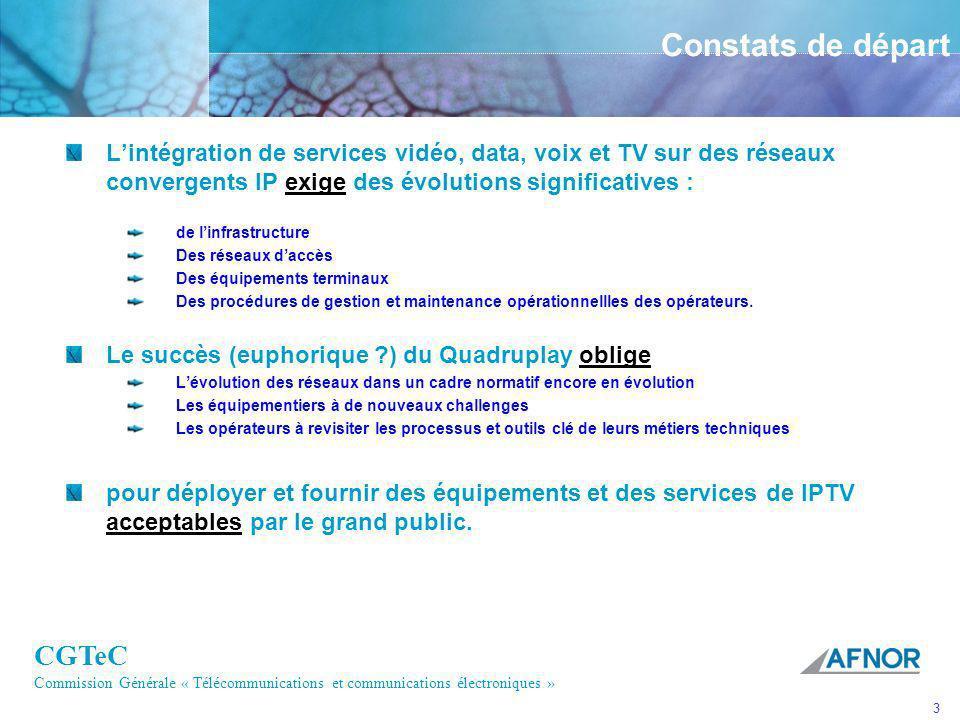 CGTeC Commission Générale « Télécommunications et communications électroniques » 3 Constats de départ Lintégration de services vidéo, data, voix et TV