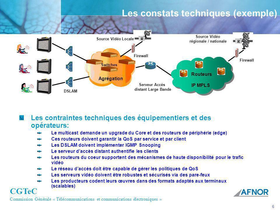 CGTeC Commission Générale « Télécommunications et communications électroniques » 6 Switches Agrégation Les constats techniques (exemple) Les contraint