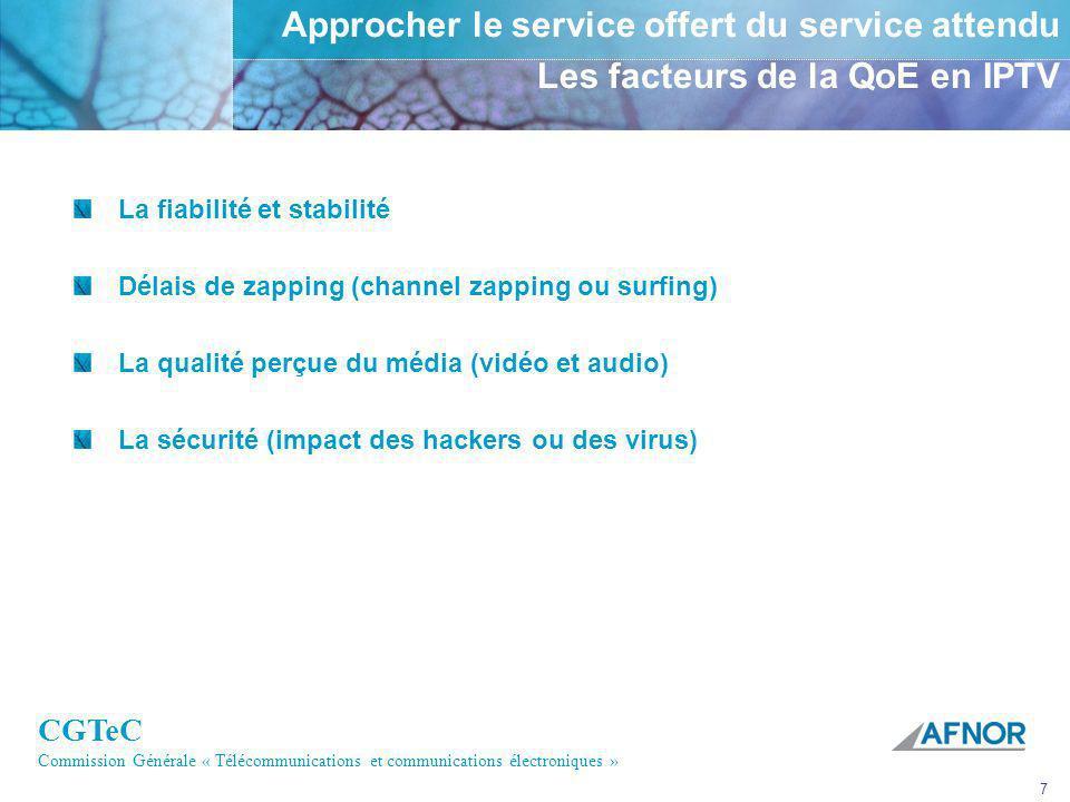 CGTeC Commission Générale « Télécommunications et communications électroniques » 7 Approcher le service offert du service attendu Les facteurs de la Q
