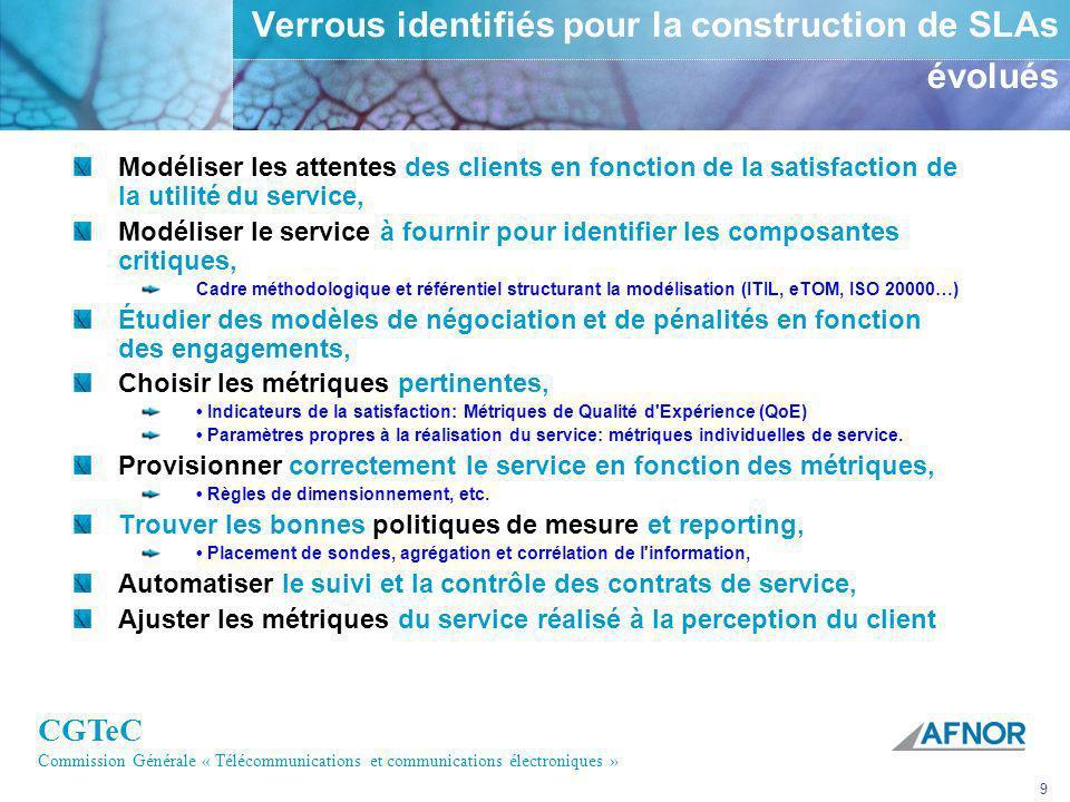 CGTeC Commission Générale « Télécommunications et communications électroniques » 9 Verrous identifiés pour la construction de SLAs évolués Modéliser l