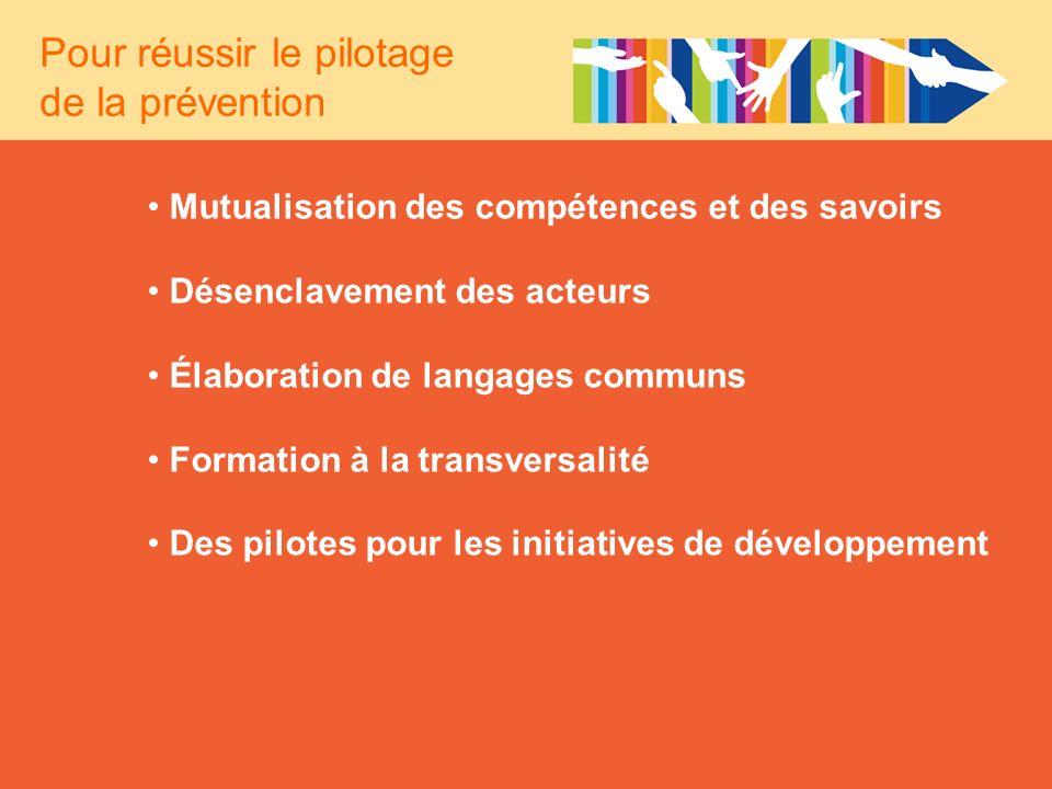 Mutualisation des compétences et des savoirs Désenclavement des acteurs Élaboration de langages communs Formation à la transversalité Des pilotes pour
