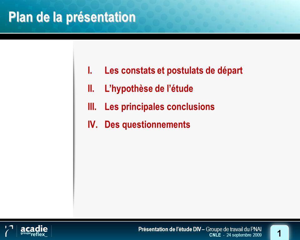 1 Présentation de létude DIV – Groupe de travail du PNAI CNLE - 24 septembre 2009 Plan de la présentation I.Les constats et postulats de départ II.Lhypothèse de létude III.Les principales conclusions IV.Des questionnements