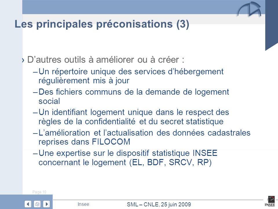 Page 10 SML – CNLE, 25 juin 2009 Insee Les principales préconisations (3) Dautres outils à améliorer ou à créer : –Un répertoire unique des services d