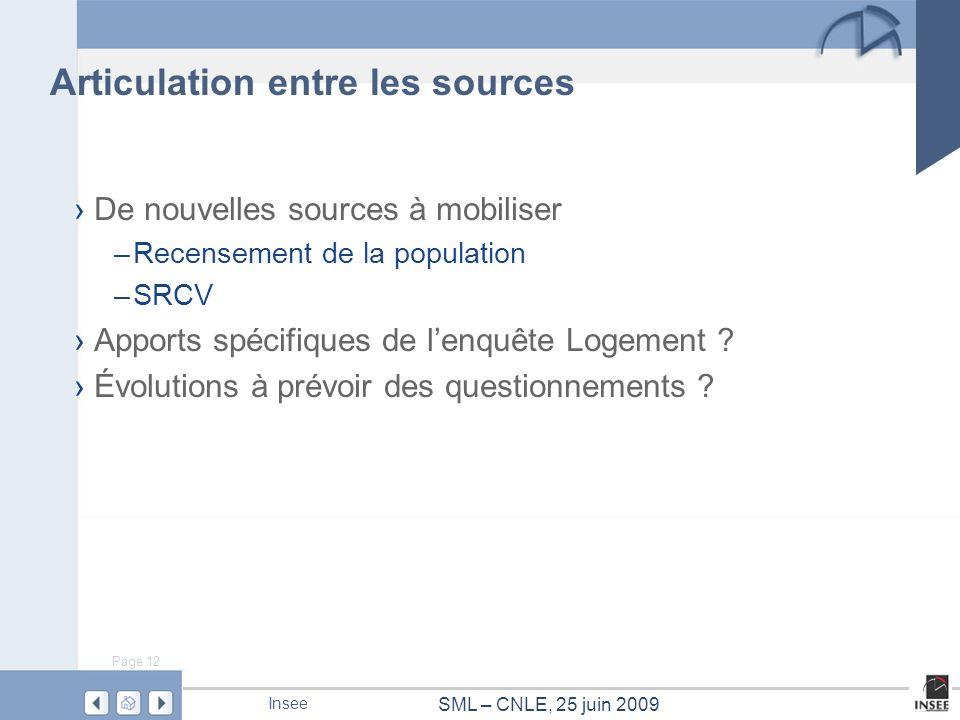Page 12 SML – CNLE, 25 juin 2009 Insee Articulation entre les sources De nouvelles sources à mobiliser –Recensement de la population –SRCV Apports spé