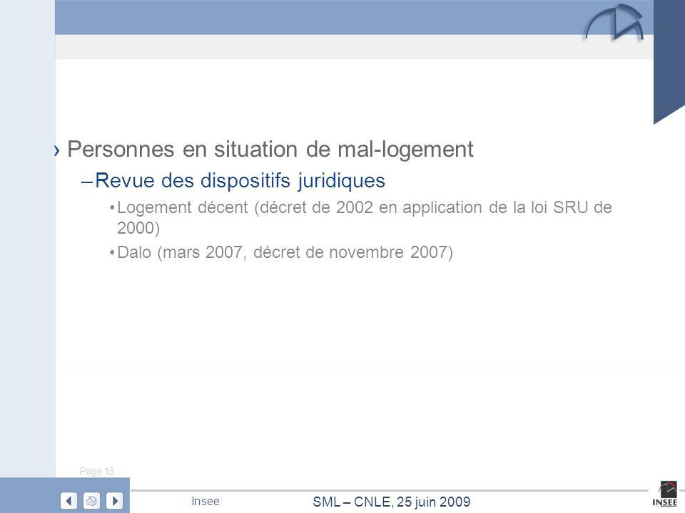 Page 13 SML – CNLE, 25 juin 2009 Insee Personnes en situation de mal-logement –Revue des dispositifs juridiques Logement décent (décret de 2002 en app