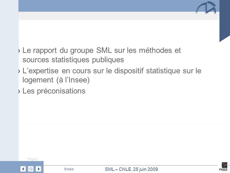 Page 2 SML – CNLE, 25 juin 2009 Insee Le rapport du groupe SML sur les méthodes et sources statistiques publiques Lexpertise en cours sur le dispositi