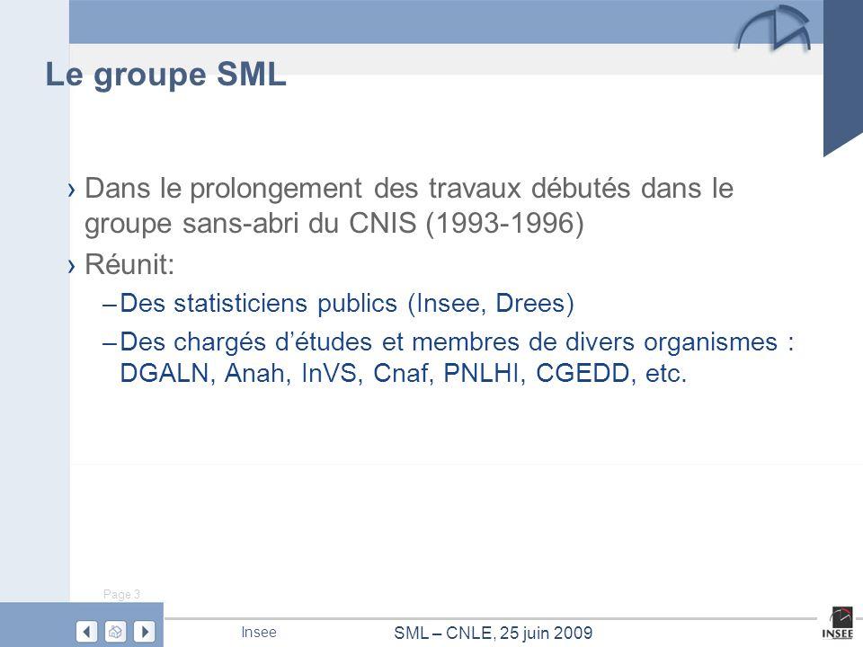 Page 3 SML – CNLE, 25 juin 2009 Insee Le groupe SML Dans le prolongement des travaux débutés dans le groupe sans-abri du CNIS (1993-1996) Réunit: –Des