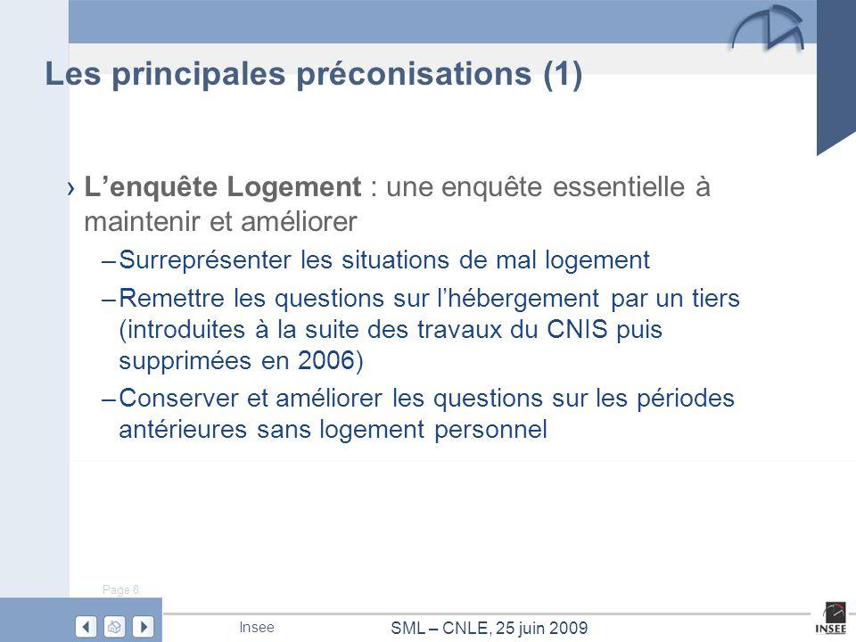 Page 8 SML – CNLE, 25 juin 2009 Insee Les principales préconisations (1) Lenquête Logement : une enquête essentielle à maintenir et améliorer –Surrepr