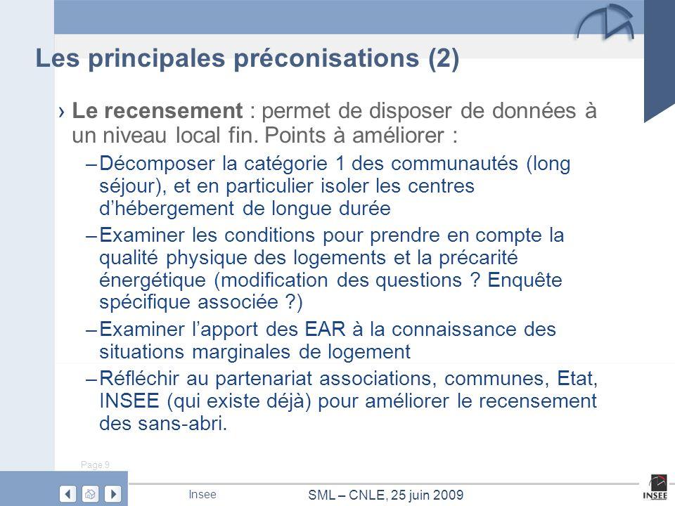 Page 9 SML – CNLE, 25 juin 2009 Insee Le recensement : permet de disposer de données à un niveau local fin. Points à améliorer : –Décomposer la catégo