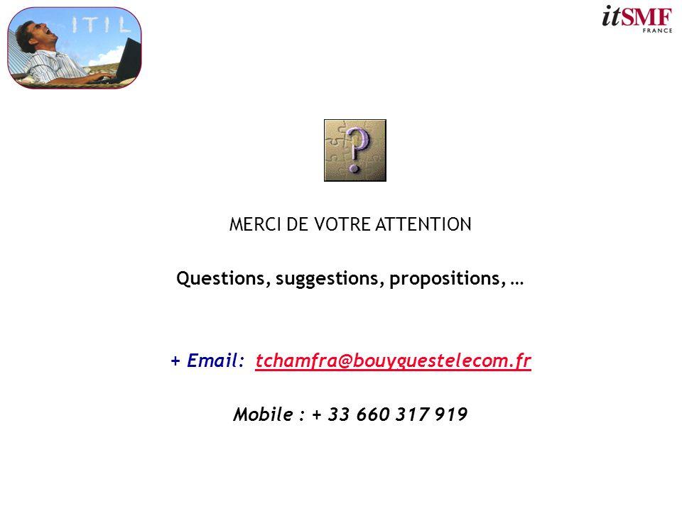 MERCI DE VOTRE ATTENTION Questions, suggestions, propositions, … + Email: tchamfra@bouyguestelecom.frtchamfra@bouyguestelecom.fr Mobile : + 33 660 317