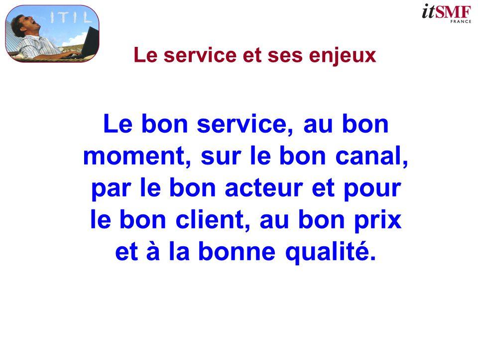 Le service et ses enjeux Le bon service, au bon moment, sur le bon canal, par le bon acteur et pour le bon client, au bon prix et à la bonne qualité.