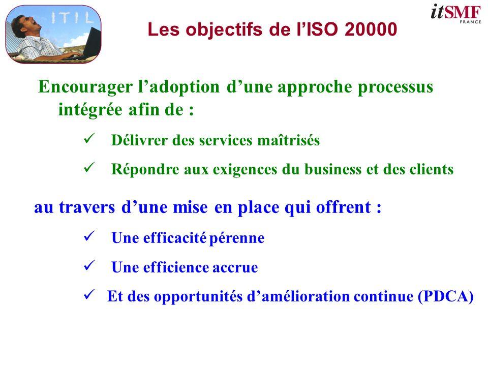 Le contexte de lISO 20000 La norme se compose de 2 parties : Une norme dexigences – ISO/IEC 20000-1 : 2005 IT Service management – Part 1 : Spécification for service management, Technologie de linformation – Gestion de services – Partie 1 : Spécifications (26 pages) Une norme de recommandation – ISO/IEC 20000-2 : 2005 IT Service management – Part 2 : Code of practice for service management, Technologie de linformation – Gestion de services – Partie 2 : Code de bonne pratique (46 pages) La certification porte sur la « partie 1 » de la norme