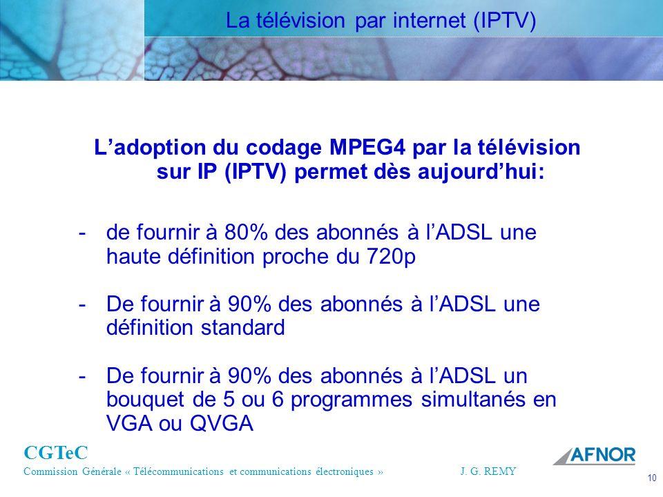 CGTeC Commission Générale « Télécommunications et communications électroniques » J. G. REMY 10 10J.G. REMY Ladoption du codage MPEG4 par la télévision