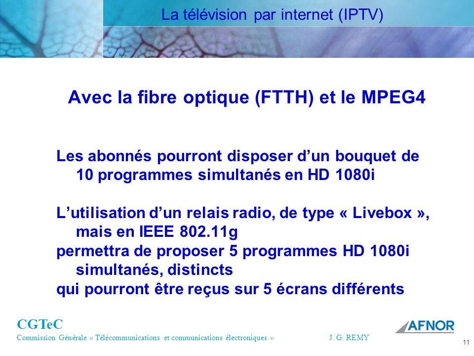 CGTeC Commission Générale « Télécommunications et communications électroniques » J. G. REMY 11 11J.G. REMY Avec la fibre optique (FTTH) et le MPEG4 Le