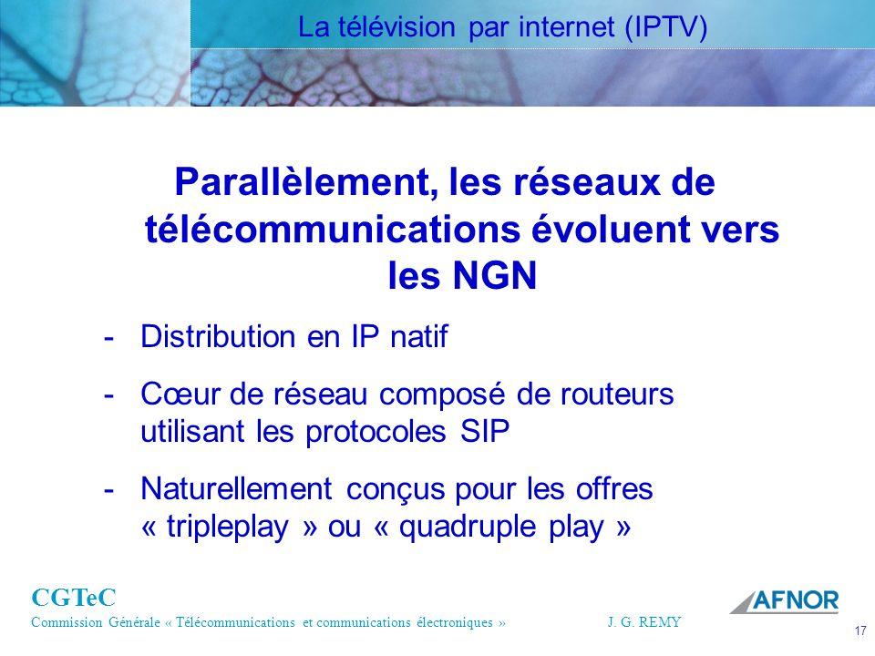 CGTeC Commission Générale « Télécommunications et communications électroniques » J. G. REMY 17 17J.G. REMY Parallèlement, les réseaux de télécommunica