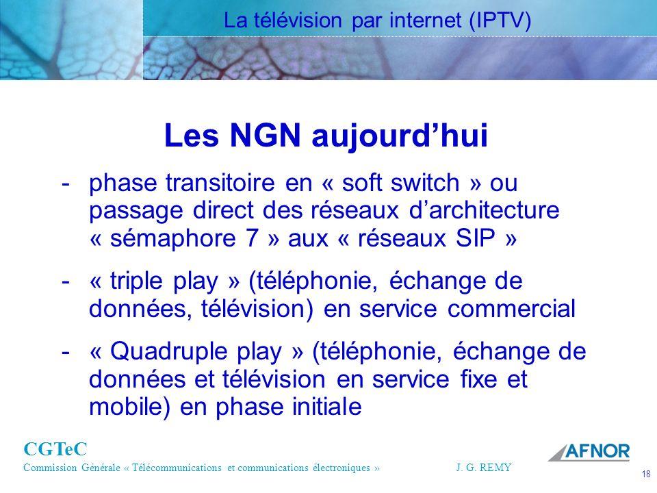 CGTeC Commission Générale « Télécommunications et communications électroniques » J. G. REMY 18 18J.G. REMY Les NGN aujourdhui -phase transitoire en «