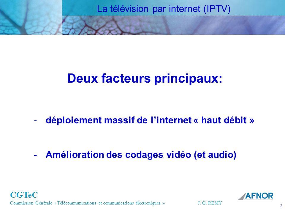 CGTeC Commission Générale « Télécommunications et communications électroniques » J. G. REMY 2 2J.G.R EMY Deux facteurs principaux: -déploiement massif