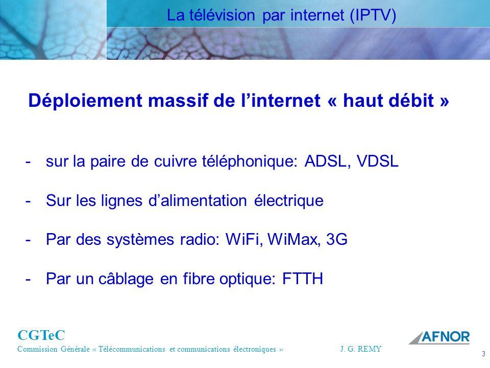CGTeC Commission Générale « Télécommunications et communications électroniques » J. G. REMY 3 3J.G.R EMY Déploiement massif de linternet « haut débit