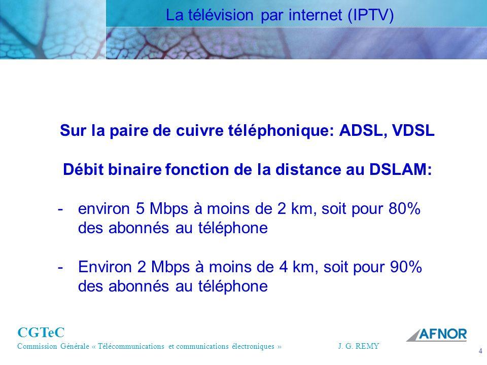 CGTeC Commission Générale « Télécommunications et communications électroniques » J. G. REMY 4 4J.G.R EMY Sur la paire de cuivre téléphonique: ADSL, VD