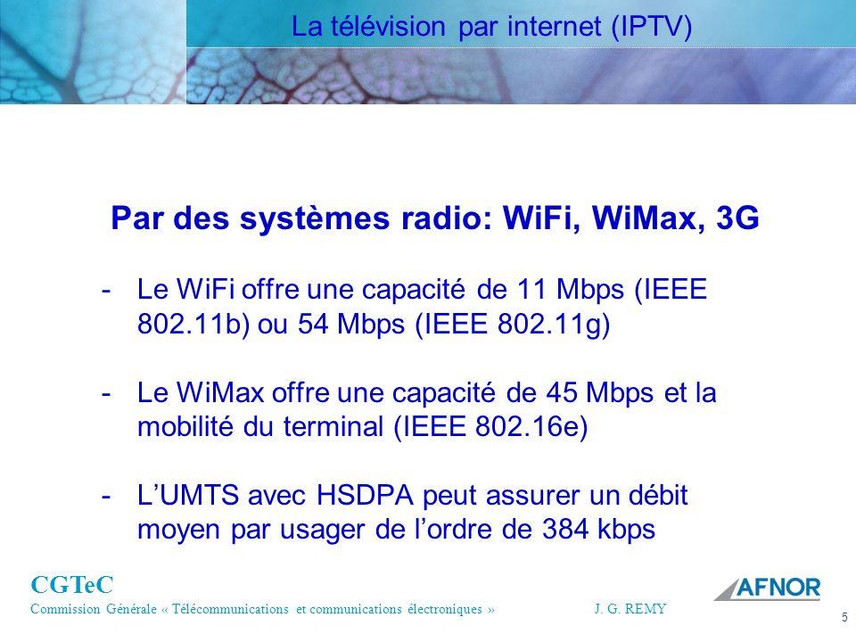 CGTeC Commission Générale « Télécommunications et communications électroniques » J. G. REMY 5 5J.G.R EMY Par des systèmes radio: WiFi, WiMax, 3G -Le W