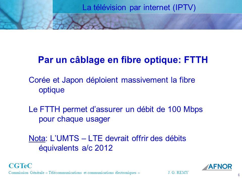 CGTeC Commission Générale « Télécommunications et communications électroniques » J. G. REMY 6 6J.G.R EMY Par un câblage en fibre optique: FTTH Corée e