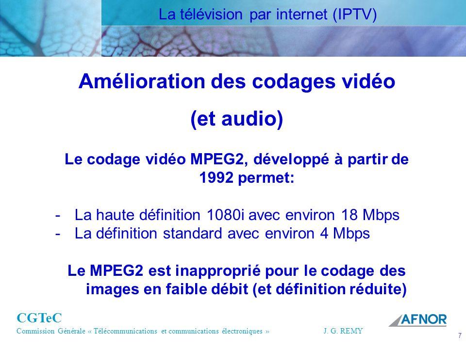 CGTeC Commission Générale « Télécommunications et communications électroniques » J. G. REMY 7 7J.G.R EMY Amélioration des codages vidéo (et audio) Le