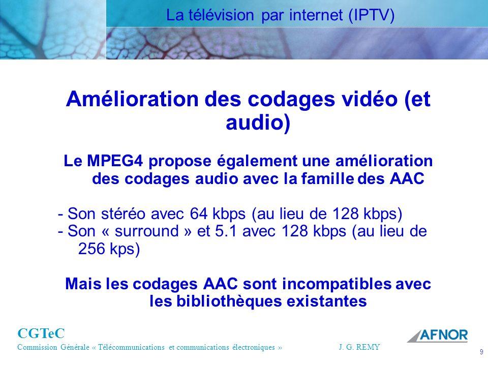 CGTeC Commission Générale « Télécommunications et communications électroniques » J. G. REMY 9 9J.G.R EMY Amélioration des codages vidéo (et audio) Le