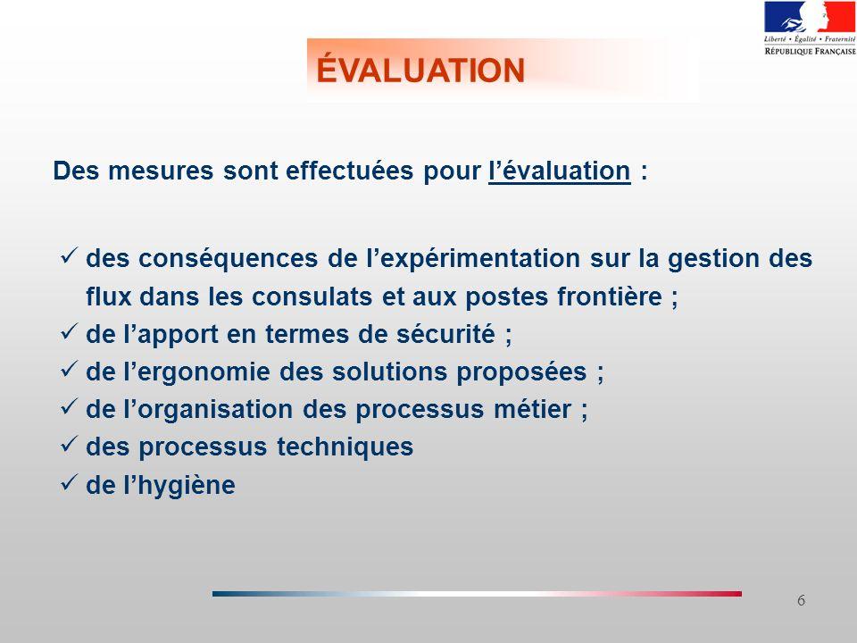 6 ÉVALUATION Des mesures sont effectuées pour lévaluation : des conséquences de lexpérimentation sur la gestion des flux dans les consulats et aux pos