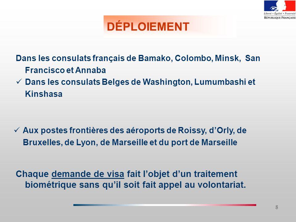 8 DÉPLOIEMENT Dans les consulats français de Bamako, Colombo, Minsk, San Francisco et Annaba Dans les consulats Belges de Washington, Lumumbashi et Ki