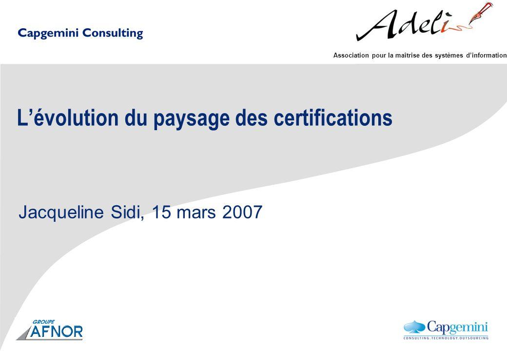 Association pour la maîtrise des systèmes dinformation Lévolution du paysage des certifications Jacqueline Sidi, 15 mars 2007