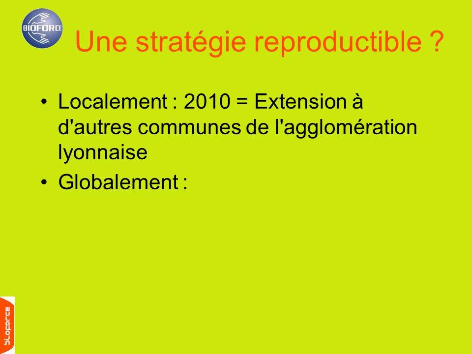 Localement : 2010 = Extension à d'autres communes de l'agglomération lyonnaise Globalement : Une stratégie reproductible ?