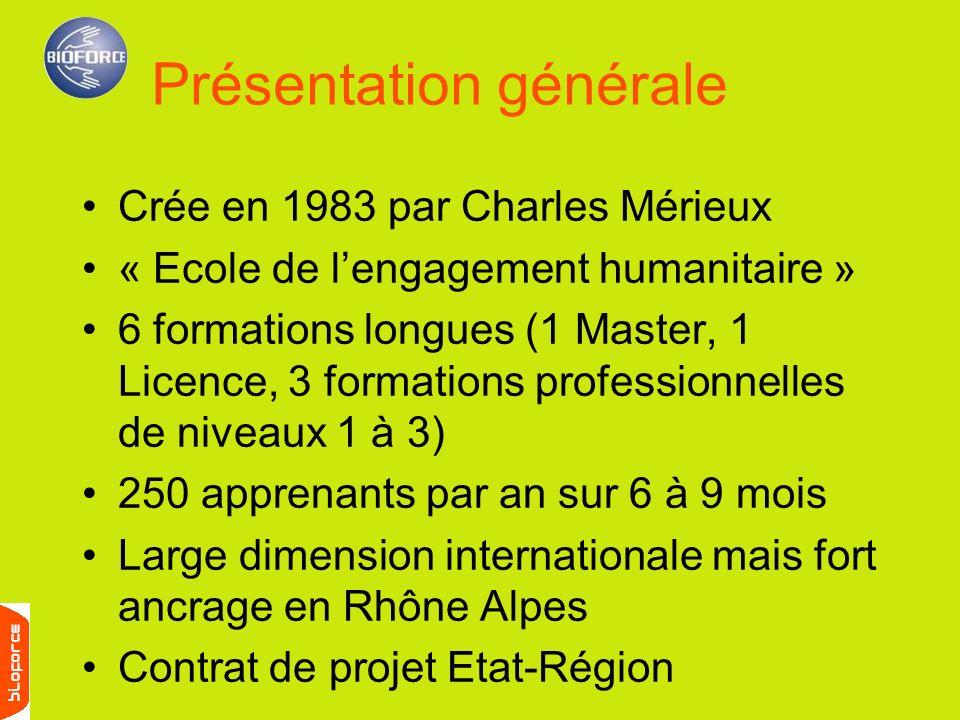 Crée en 1983 par Charles Mérieux « Ecole de lengagement humanitaire » 6 formations longues (1 Master, 1 Licence, 3 formations professionnelles de nive