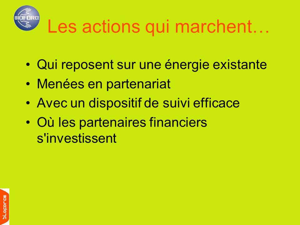Qui reposent sur une énergie existante Menées en partenariat Avec un dispositif de suivi efficace Où les partenaires financiers s'investissent Les act