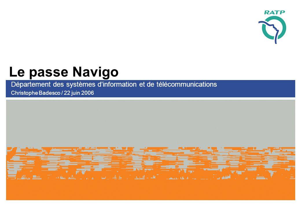 Le passe Navigo Département des systèmes dinformation et de télécommunications Christophe Badesco / 22 juin 2006