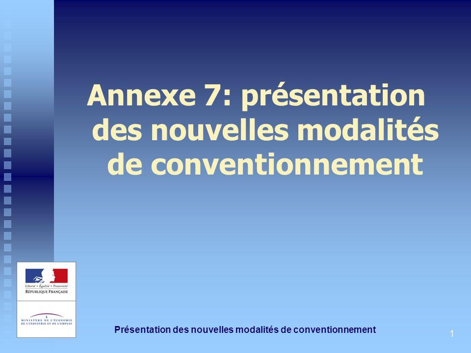 Présentation des nouvelles modalités de conventionnement 1 Annexe 7: présentation des nouvelles modalités de conventionnement