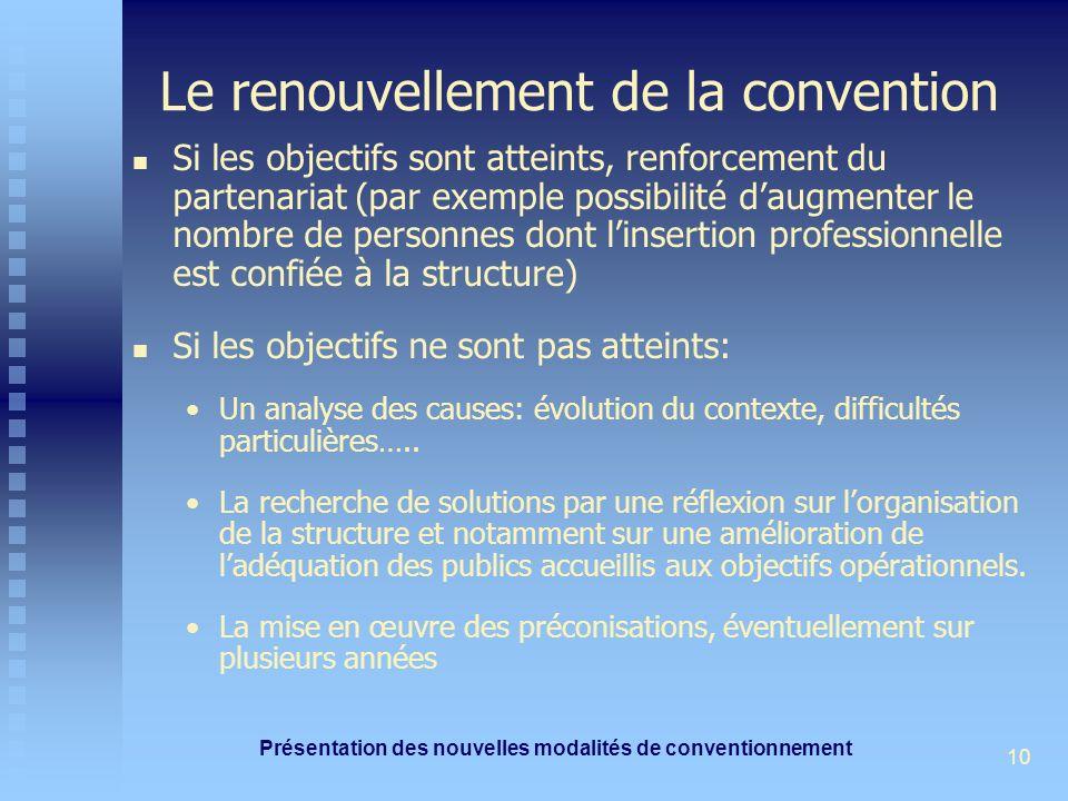 Présentation des nouvelles modalités de conventionnement 10 Le renouvellement de la convention Si les objectifs sont atteints, renforcement du partena