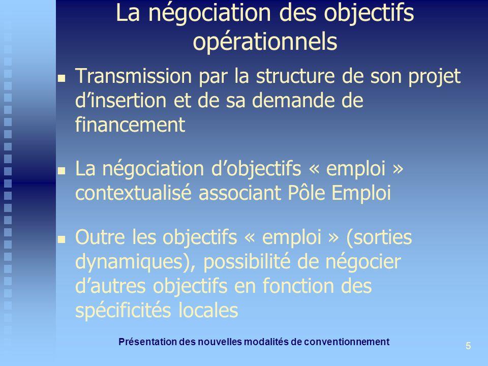 Présentation des nouvelles modalités de conventionnement 5 La négociation des objectifs opérationnels Transmission par la structure de son projet dins