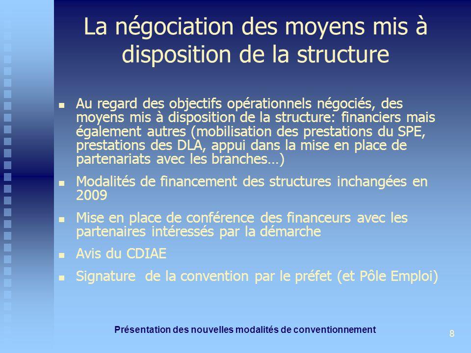 Présentation des nouvelles modalités de conventionnement 8 La négociation des moyens mis à disposition de la structure Au regard des objectifs opérationnels négociés, des moyens mis à disposition de la structure: financiers mais également autres (mobilisation des prestations du SPE, prestations des DLA, appui dans la mise en place de partenariats avec les branches…) Modalités de financement des structures inchangées en 2009 Mise en place de conférence des financeurs avec les partenaires intéressés par la démarche Avis du CDIAE Signature de la convention par le préfet (et Pôle Emploi)