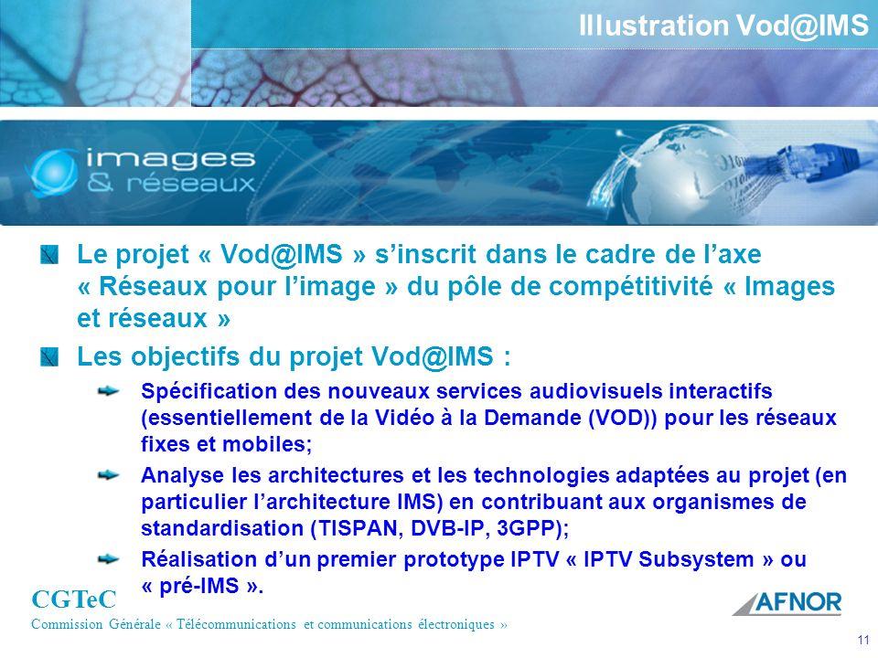 CGTeC Commission Générale « Télécommunications et communications électroniques » 11 Illustration Vod@IMS Le projet « Vod@IMS » sinscrit dans le cadre