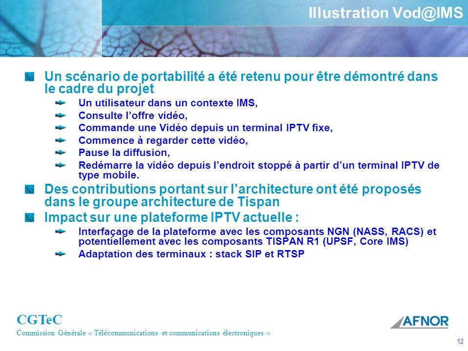 CGTeC Commission Générale « Télécommunications et communications électroniques » 12 Illustration Vod@IMS Un scénario de portabilité a été retenu pour