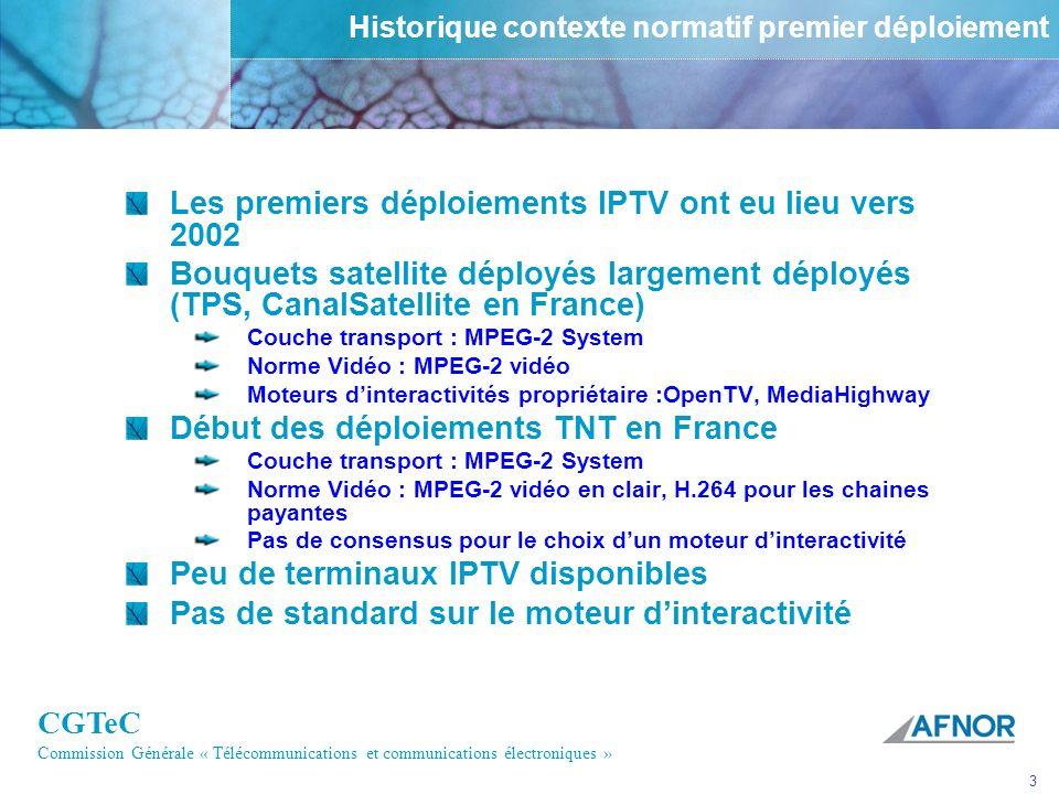 CGTeC Commission Générale « Télécommunications et communications électroniques » 3 Historique contexte normatif premier déploiement Les premiers déplo