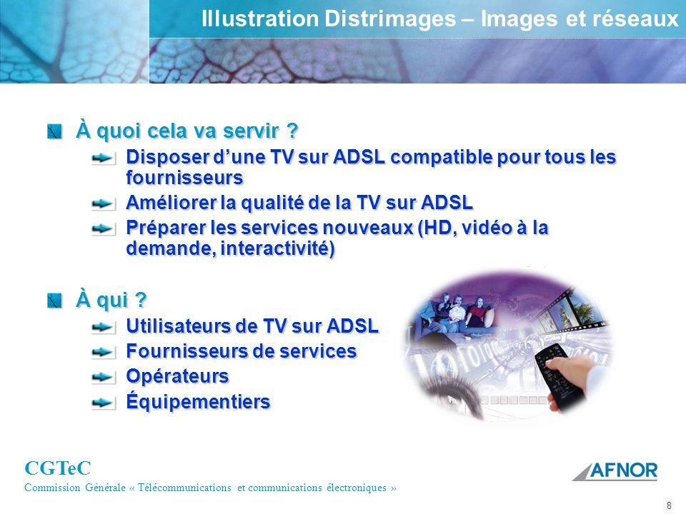CGTeC Commission Générale « Télécommunications et communications électroniques » 8 Illustration Distrimages – Images et réseaux À quoi cela va servir