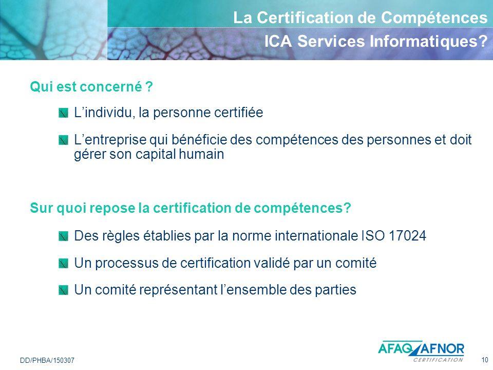 10 DD/PHBA/150307 La Certification de Compétences ICA Services Informatiques? Qui est concerné ? Lindividu, la personne certifiée Lentreprise qui béné