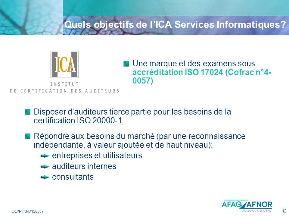 12 DD/PHBA/150307 Quels objectifs de lICA Services Informatiques? Une marque et des examens sous accréditation ISO 17024 (Cofrac n°4- 0057) Disposer d
