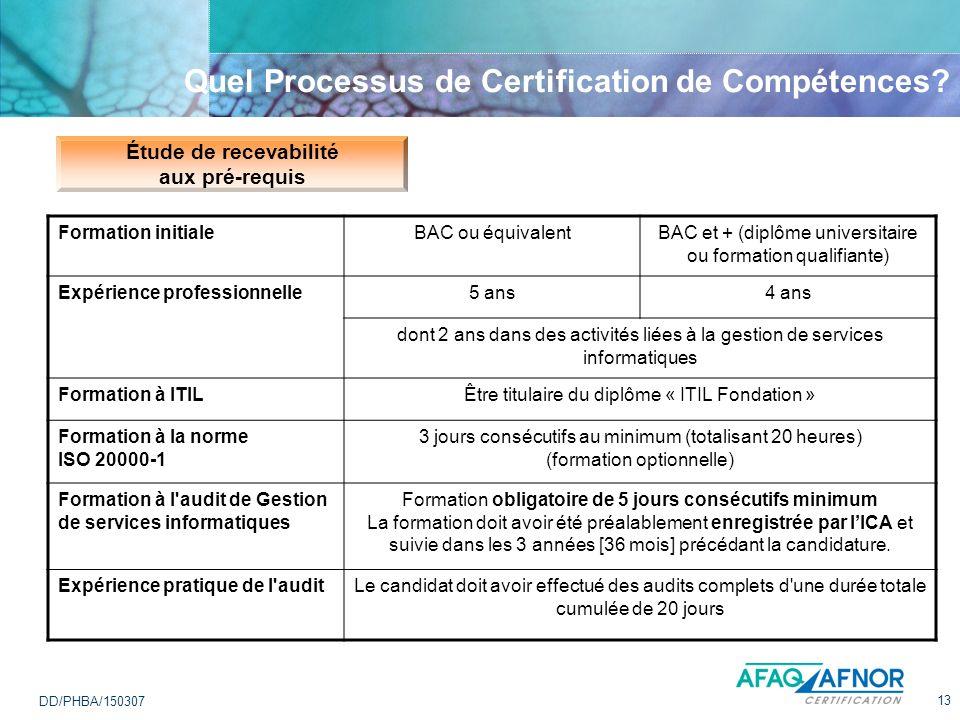 13 DD/PHBA/150307 Quel Processus de Certification de Compétences? Étude de recevabilité aux pré-requis Formation initialeBAC ou équivalentBAC et + (di