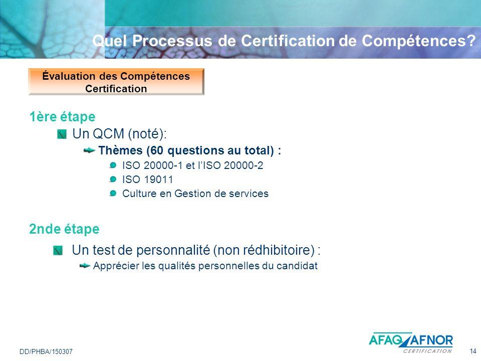 14 DD/PHBA/150307 Quel Processus de Certification de Compétences? Évaluation des Compétences Certification 1ère étape Un QCM (noté): Thèmes (60 questi