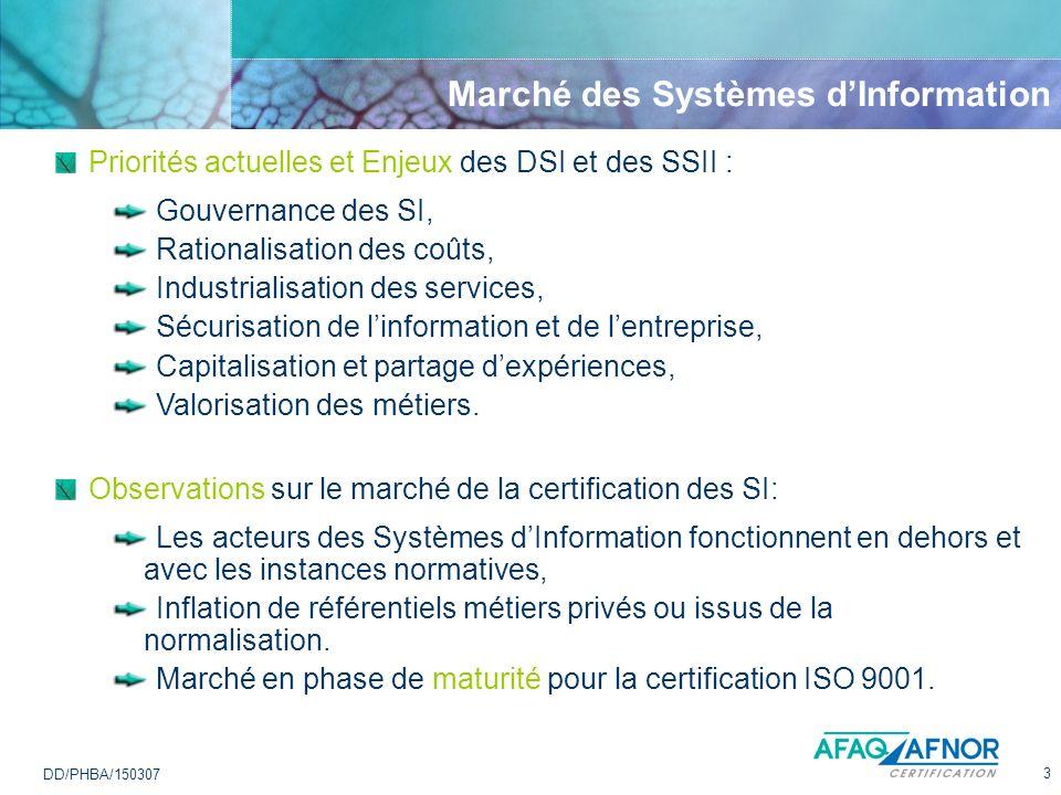 3 DD/PHBA/150307 Marché des Systèmes dInformation Observations sur le marché de la certification des SI: Les acteurs des Systèmes dInformation fonctio