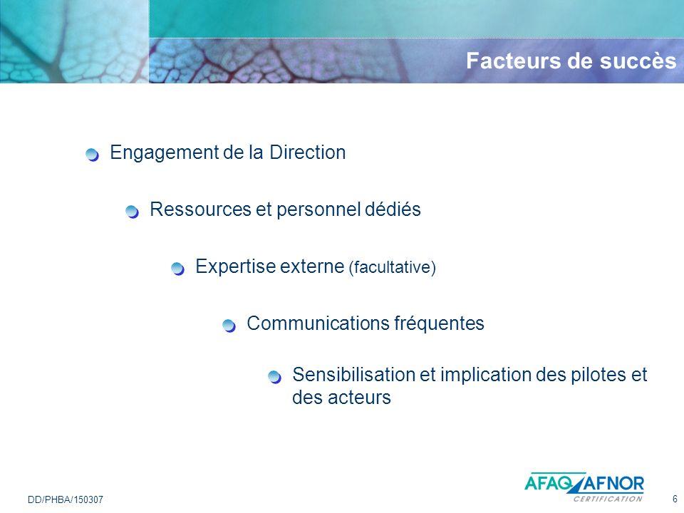 6 DD/PHBA/150307 Facteurs de succès Communications fréquentes Expertise externe (facultative) Ressources et personnel dédiés Engagement de la Directio