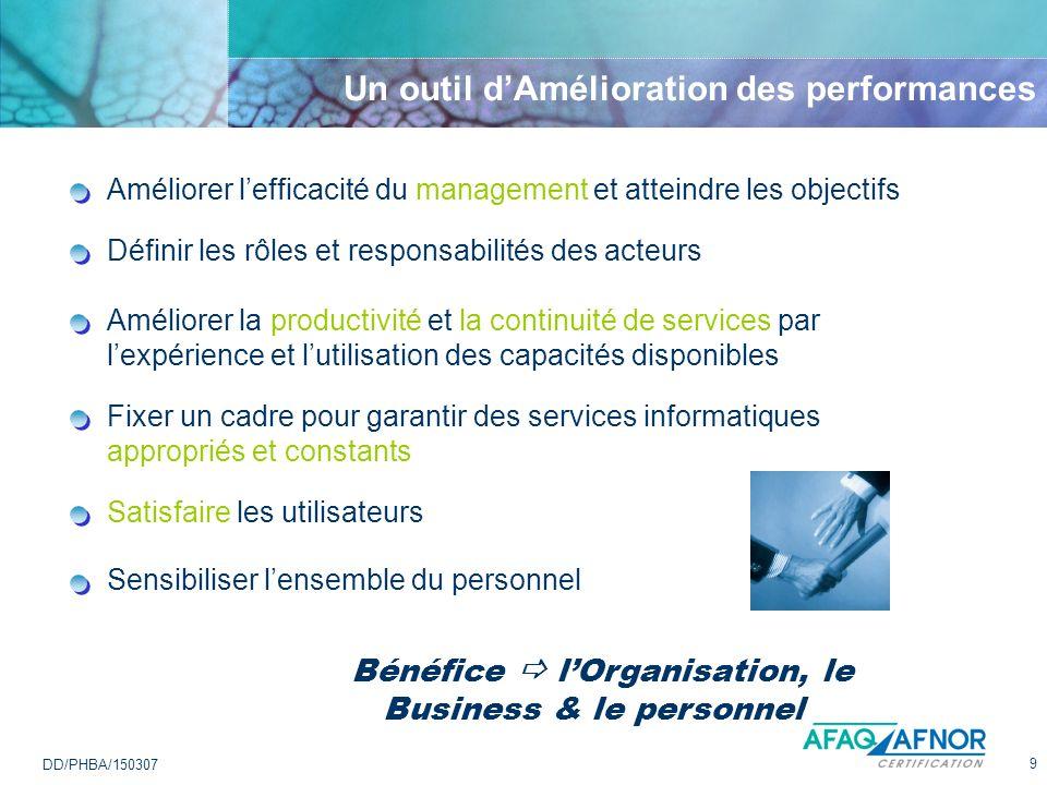 9 DD/PHBA/150307 Un outil dAmélioration des performances Bénéfice lOrganisation, le Business & le personnel Améliorer la productivité et la continuité