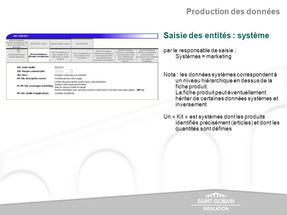 par le responsable de saisie : Systèmes = marketing Nota : les données systèmes correspondent à un niveau hiérarchique en dessus de la fiche produit.